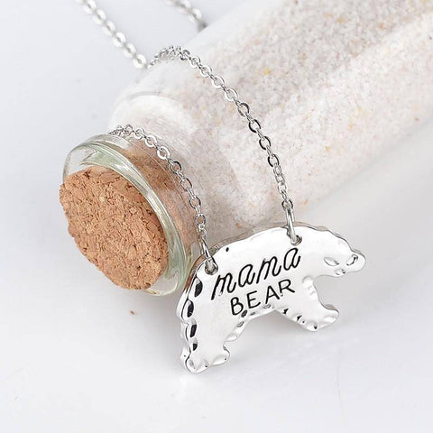 Image of Mama Bear Animal Pendant Gold or Silver, Gift for Mom
