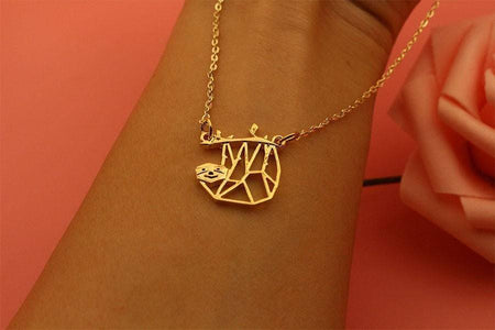 Geometric Hanging Sloth Necklace Pendant Necklaces Light Yellow Gold Color