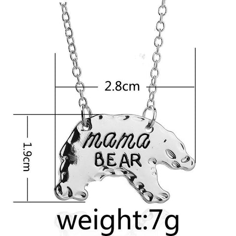 Mama Bear Animal Pendant Gold or Silver, Gift for Mom