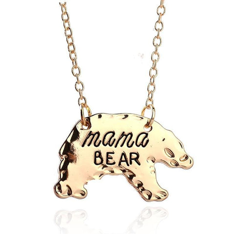 Image of Mama Bear Animal Pendant Gold or Silver, Gift for Mom Gold