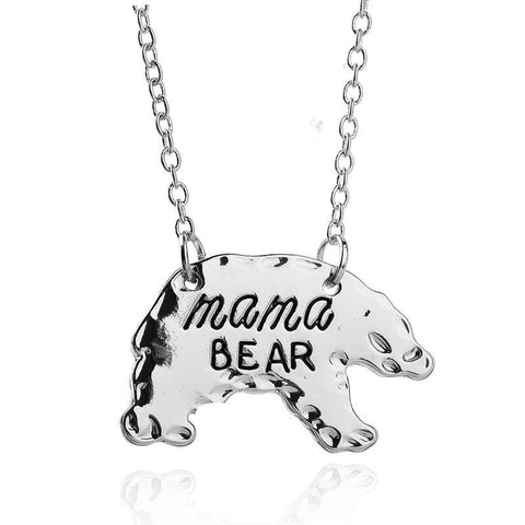 Image of Mama Bear Animal Pendant Gold or Silver, Gift for Mom Silver