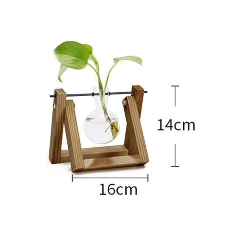 Awesome Vintage Tabletop Hydroponic Plant Vase Distressed Wooden Frame Vases