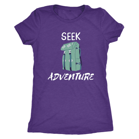 Image of Seek Adventure with Backpack (Womens) T-shirt Next Level Womens Triblend Purple Rush S