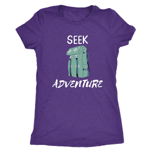 Seek Adventure with Backpack (Womens) T-shirt Next Level Womens Triblend Purple Rush S