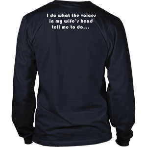 Voices in Her Head | White Print T-shirt District Long Sleeve Shirt Navy S
