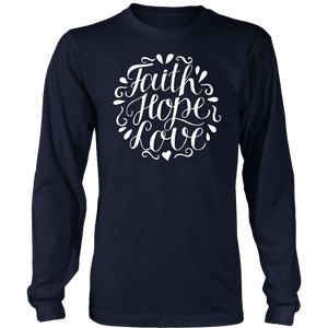 Faith Hope and Love, White Print T-shirt District Long Sleeve Shirt Navy S
