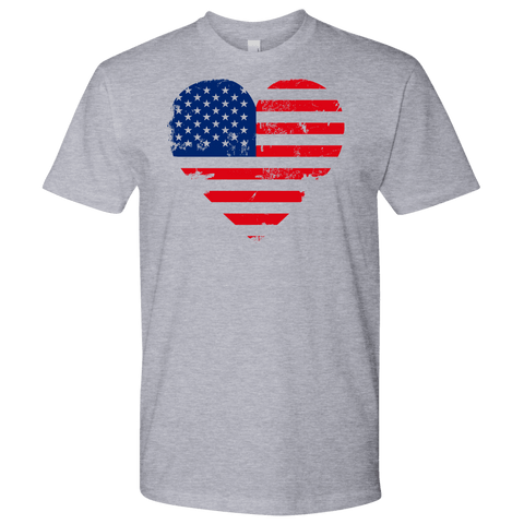 Image of Love America Men's Shirts, White T-shirt Next Level Mens Shirt Heather Grey S