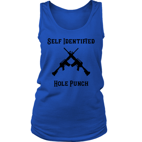 Self Identified Hole Punch T-shirt District Womens Tank Royal Blue S