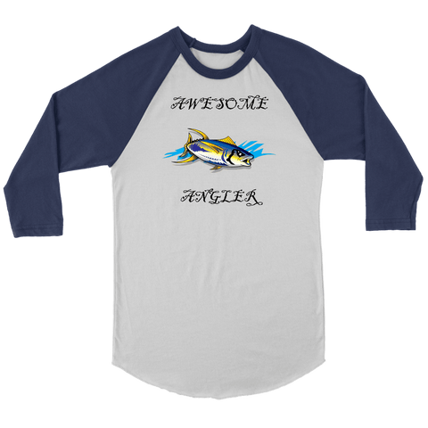 Image of You're An Awesome Angler | V.3 Pirate T-shirt Canvas Unisex 3/4 Raglan White/Navy S