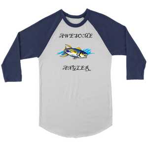 You're An Awesome Angler | V.3 Pirate T-shirt Canvas Unisex 3/4 Raglan White/Navy S