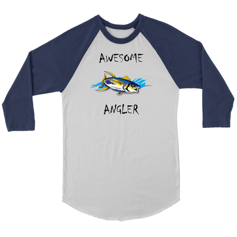 Image of You're An Awesome Angler | V.2 Chiller T-shirt Canvas Unisex 3/4 Raglan White/Navy S