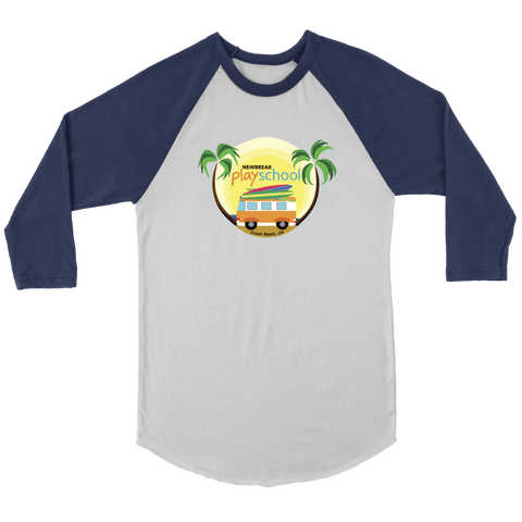 Newbreak Playschool Raglan Shirt T-shirt Canvas Unisex 3/4 Raglan White/Navy S