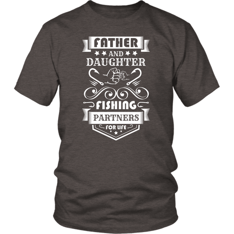 Image of Father and Daughter Fishing Partners T-shirt District Unisex Shirt Heather Brown S