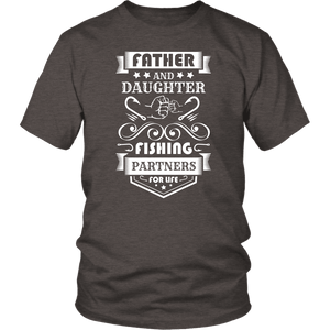 Father and Daughter Fishing Partners T-shirt District Unisex Shirt Heather Brown S