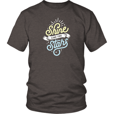 Shine Like The Stars T-shirt District Unisex Shirt Heather Brown S