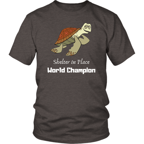 Image of Shelter In Place World Champion, White Print T-shirt District Unisex Shirt Heather Brown S
