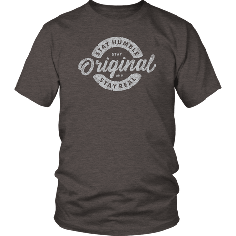 Image of Stay Real, Stay Original Mens Shirts T-shirt District Unisex Shirt Heather Brown S