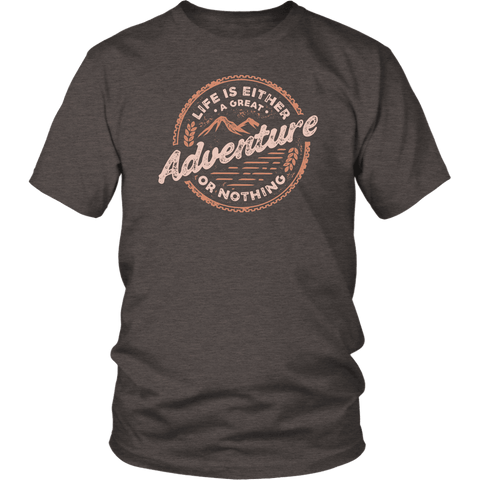 Image of Life Is A Great Adventure T-shirt District Unisex Shirt Heather Brown S