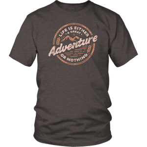Life Is A Great Adventure T-shirt District Unisex Shirt Heather Brown S