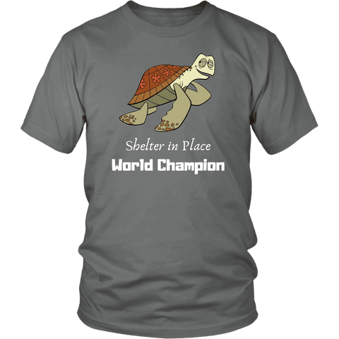 Image of Shelter In Place World Champion, White Print T-shirt District Unisex Shirt Grey S