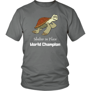 Shelter In Place World Champion, White Print T-shirt District Unisex Shirt Grey S
