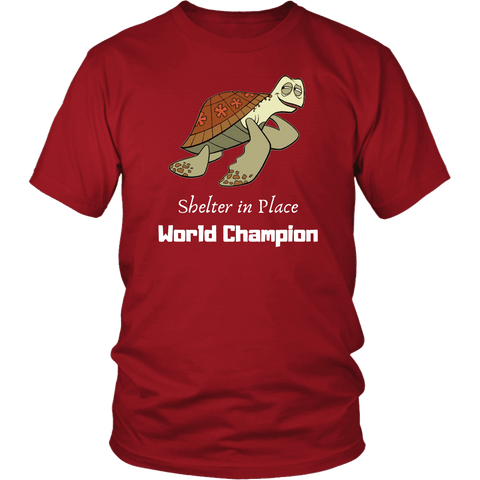 Image of Shelter In Place World Champion, White Print T-shirt District Unisex Shirt Red S