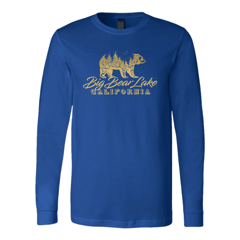 Image of Big Bear Lake California V.2, Gold, Hoodies Long Sleeve T-shirt Canvas Long Sleeve Shirt Royal S
