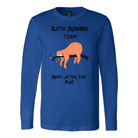 Image of Sloth Running Team T-shirt Canvas Long Sleeve Shirt Royal S