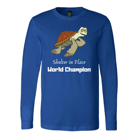 Shelter In Place World Champion, White Print Long Sleeve Hoodie T-shirt Canvas Long Sleeve Shirt Royal S