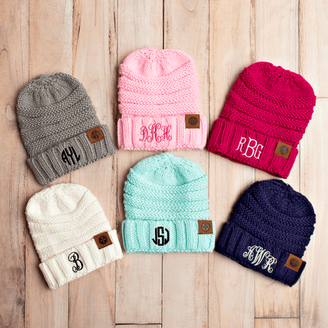 Image of Comfy Kids Monogram Beanies Monogrammed Personalized Products
