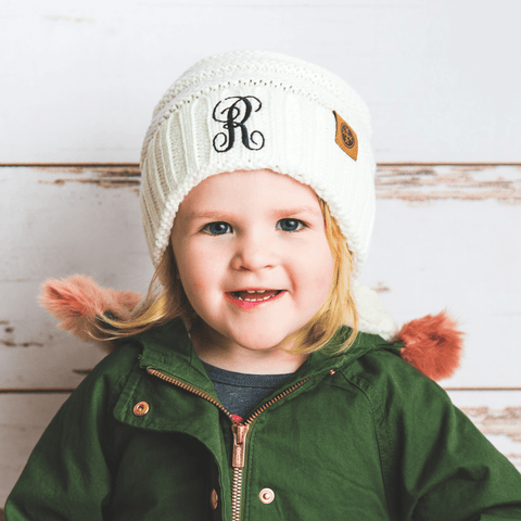 Image of Comfy Kids Monogram Beanies Monogrammed Personalized Products Cream Fancy