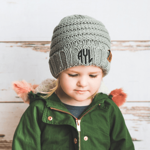 Image of Comfy Kids Monogram Beanies Monogrammed Personalized Products Grey Fancy