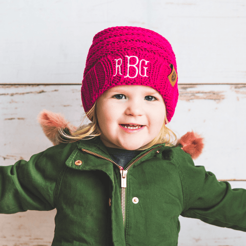 Image of Comfy Kids Monogram Beanies Monogrammed Personalized Products Rose Fancy