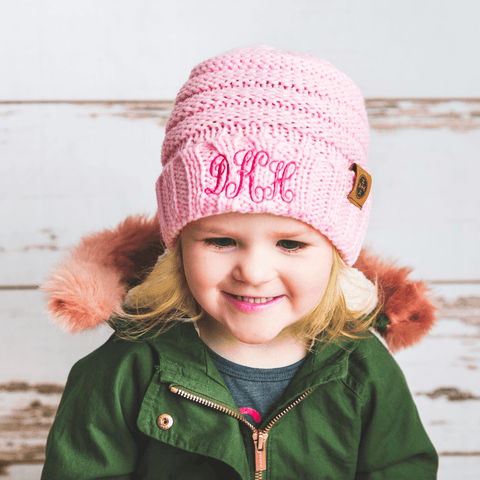 Image of Comfy Kids Monogram Beanies Monogrammed Personalized Products Soft Pink Fancy