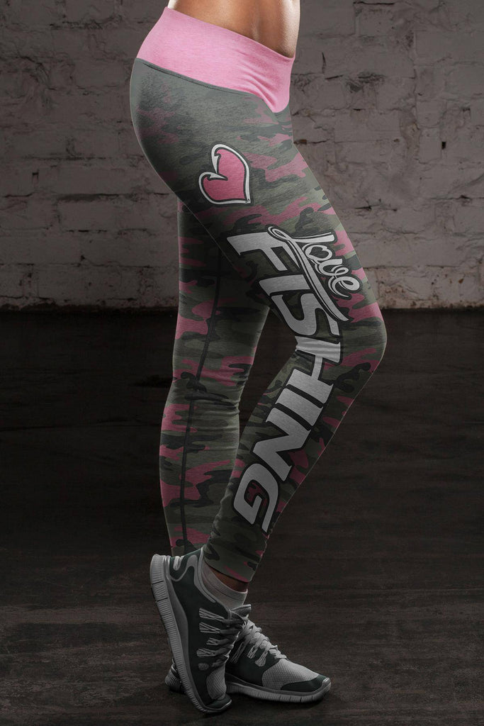 Love Fishing Pink Camo Leggings Leggings