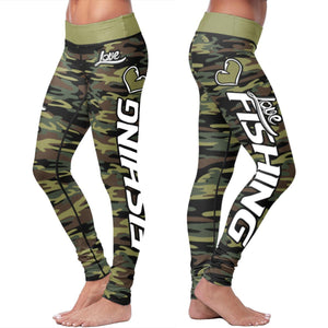 Love Fishing Green Camo Leggings Leggings Love Fishing Green Camo Leggings S