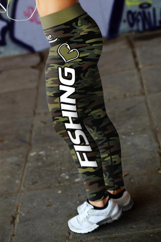 Image of Love Fishing Green Camo Leggings Leggings