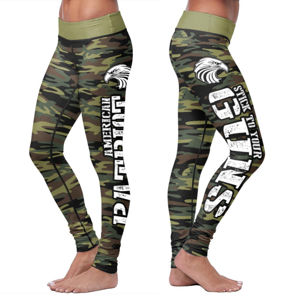 American Patriot Green Camo Leggings Leggings American Patriot Green Camo Leggings S