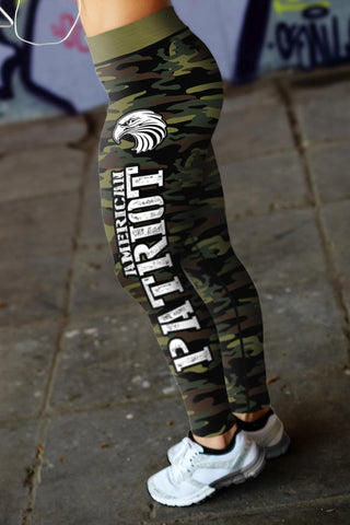 Image of American Patriot Green Camo Leggings Leggings