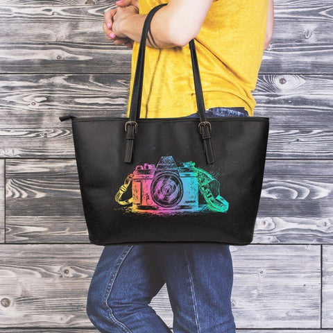 Image of Premium Eco-Leather Tote, Colorful Camera