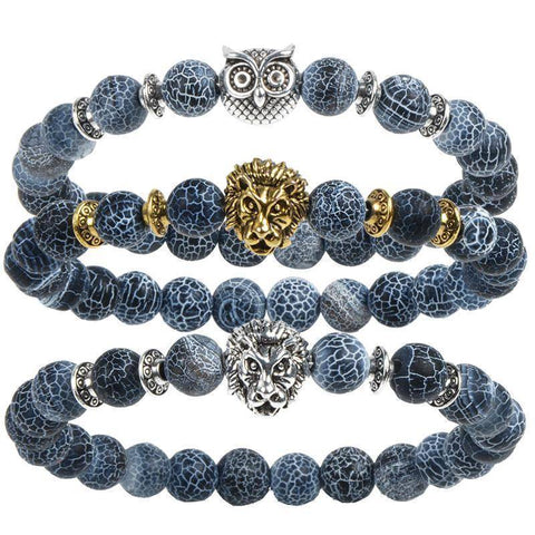 Image of Cool Animal Bracelet with Lava Stone Beads Charm Bracelets