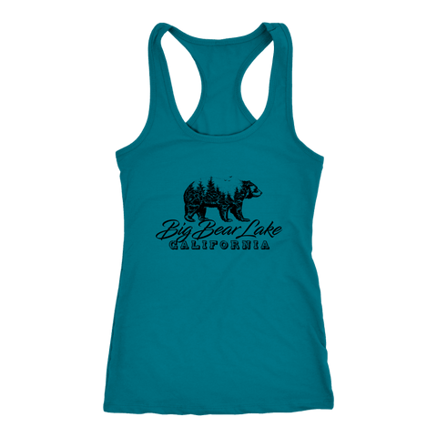 Image of Big Bear Lake California V.2, Womens, Black T-shirt Next Level Racerback Tank Turquoise XS