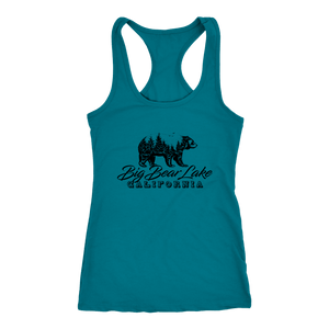 Big Bear Lake California V.2, Womens, Black T-shirt Next Level Racerback Tank Turquoise XS