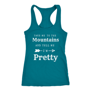 To The Mountains Womens Shirts T-shirt Next Level Racerback Tank Turquoise XS