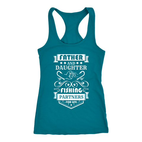 Image of Father and Daughter Fishing Partners T-shirt Next Level Racerback Tank Turquoise XS