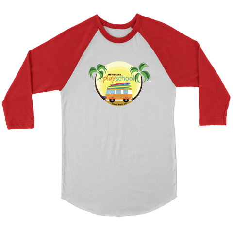 Image of Newbreak Playschool Raglan Shirt T-shirt Canvas Unisex 3/4 Raglan White/Red S