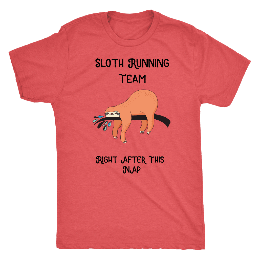 Sloth Running Team T-shirt Next Level Mens Triblend Vintage Red S
