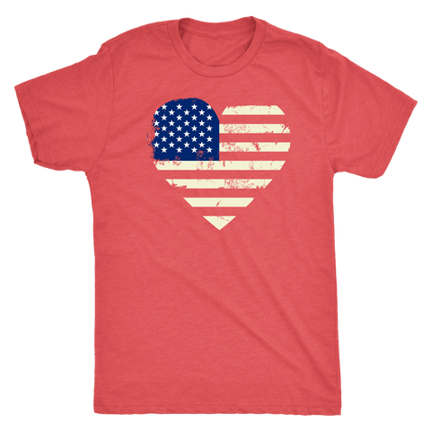 Love America Men's Shirts Red T-shirt Next Level Mens Triblend Vintage Red S