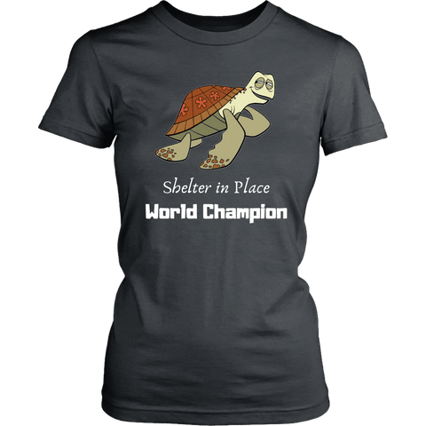 Image of Shelter In Place World Champion, White Print T-shirt District Womens Shirt Charcoal XS