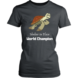 Shelter In Place World Champion, White Print T-shirt District Womens Shirt Charcoal XS